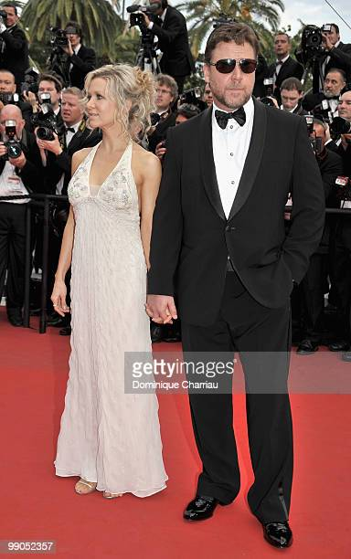 Russell Crowe and wife Danielle Spencer attend the Opening Night Premiere of 'Robin Hood' at the Palais des Festivals during the 63rd Annual...