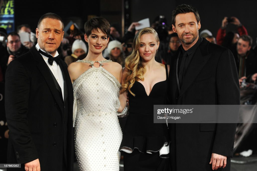 Russell Crowe, Anne Hathaway, Amanda Seyfried and Hugh Jackman attend the world premiere of Les Miserables at The Odeon Leicester Square on December 5, 2012 in London, England.