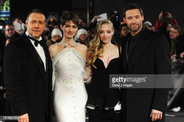 Russell Crowe Anne Hathaway Amanda Seyfried and Hugh Jackman attend the world premiere of Les Miserables at The Odeon Leicester Square on December 5...