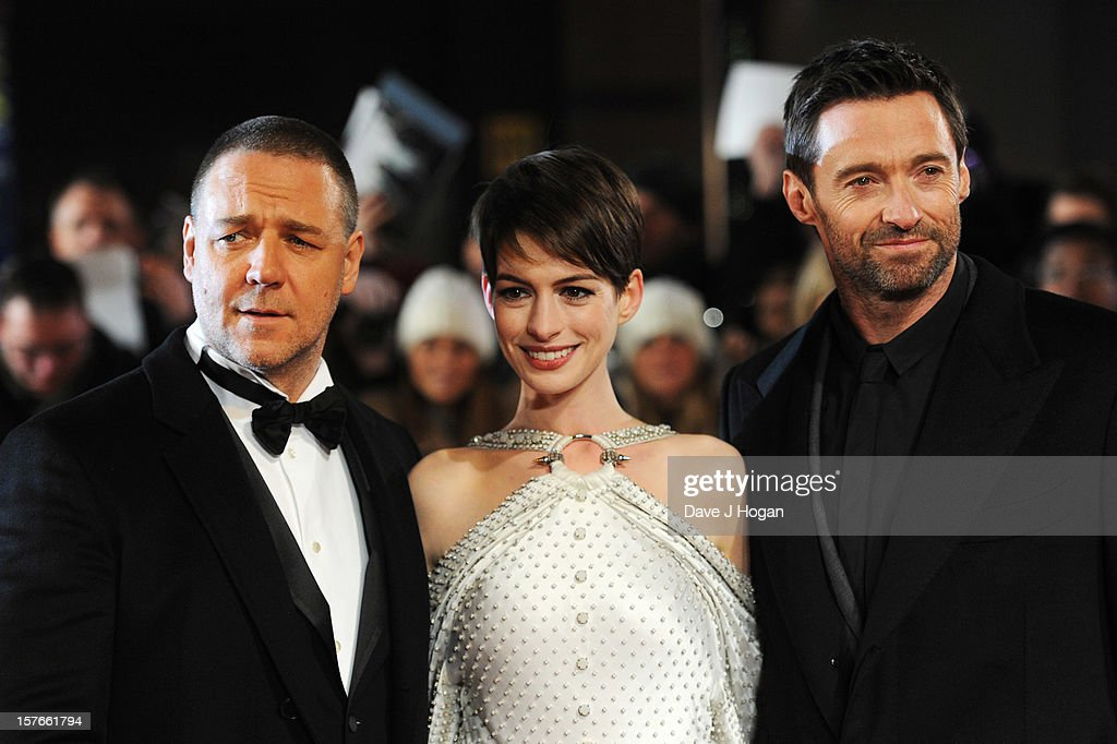 Russell Crowe, Anne Hathaway and Hugh Jackman attend the world premiere of Les Miserables at The Odeon Leicester Square on December 5, 2012 in London, England.