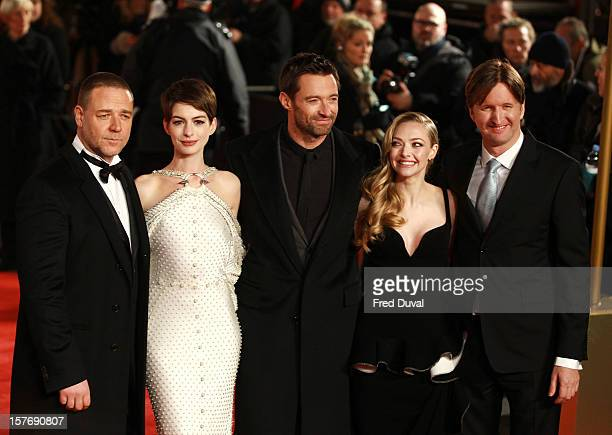 Russell Crowe Anne Hathaway Hugh Jackman Amanda Seyfried and Tom Hooper attend the world premiere of Les Miserables at Odeon Leicester Square on...