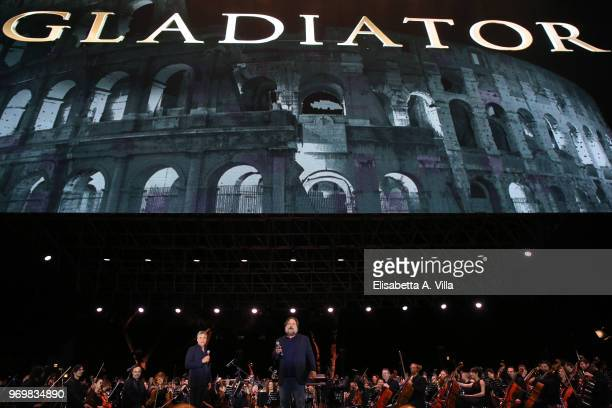 Russell Crowe appears on stage at the 'Il Gladiatore In Concerto' charity night at Circo Massimo on June 8 2018 in Rome Italy
