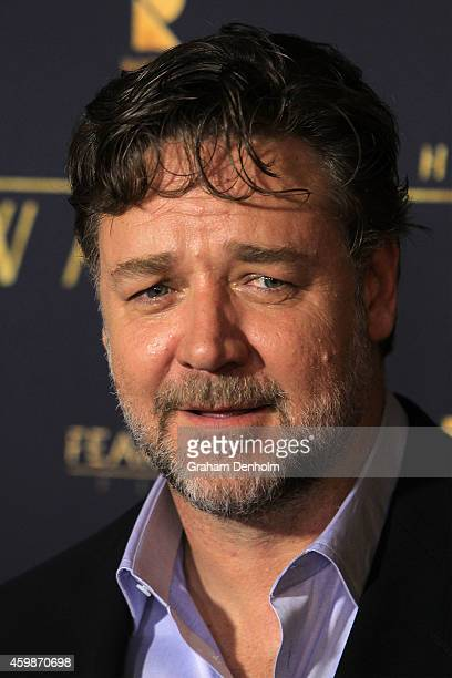 Russell Crowe arrives at the Melbourne Premier of 'The Water Diviner' at Rivoli Cinema on December 3 2014 in Melbourne Australia