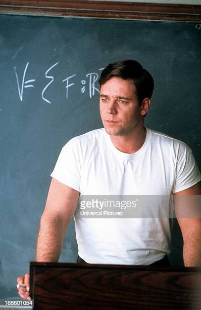 Russell Crowe at chalkboard in a scene from the film 'A Beautiful Mind' 2001