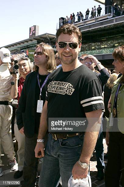 Russell Crowe at the Indy 500 during Celebrity Parade at Indianapolis 500 May 29 2005 at Indianapolis Motor Speedway in Indianapolis Indiana United...