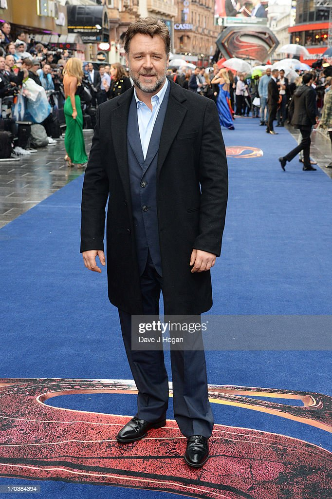 Russell Crowe attends the European premiere of 'Man Of Steel' at The Empire Leicester Square on June 12, 2013 in London, England.