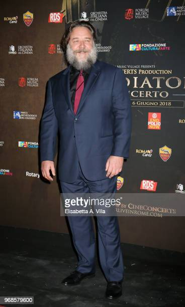 Russell Crowe attends the 'Il Gladiatore In Concerto' charity night at Colosseum on June 6 2018 in Rome Italy
