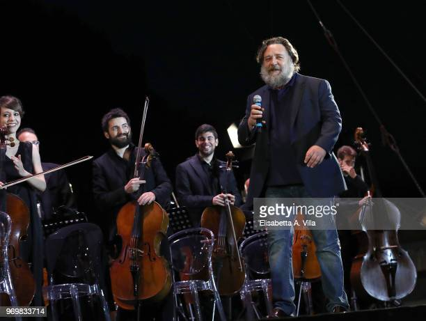 Russell Crowe attends the 'Il Gladiatore In Concerto' charity night at Circo Massimo on June 8 2018 in Rome Italy