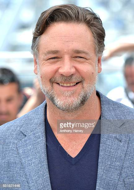 Russell Crowe attends 'The Nice Guys' photocall during the 69th annual Cannes Film Festival at the Palais des Festivals on May 15 2016 in Cannes...