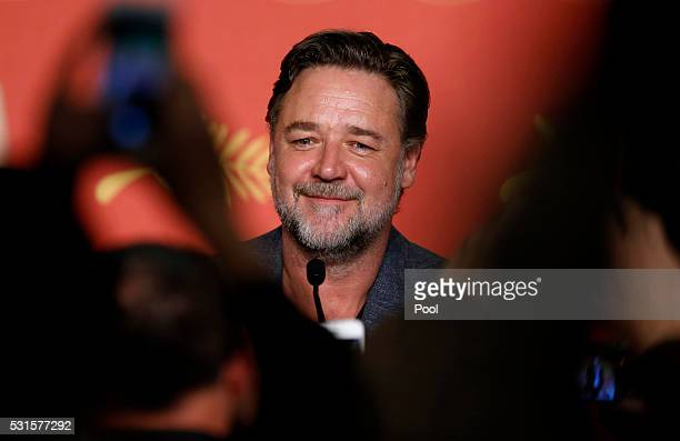 Russell Crowe attends The Nice Guys press conference during the 69th annual Cannes Film Festival at the Palais des Festivals on May 15 2016 in Cannes...