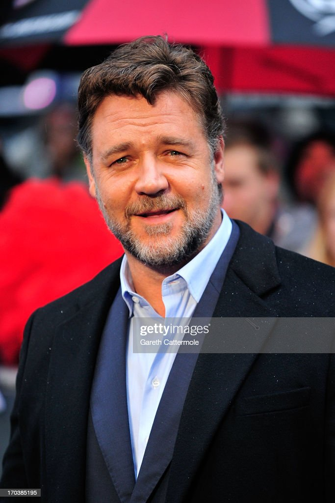 Russell Crowe attends the UK Premiere of 'Man of Steel' at Odeon Leicester Square on June 12, 2013 in London, England.