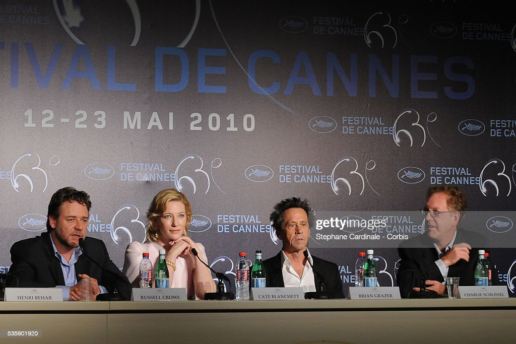 Russell Crowe, Cate Blanchett and Brian Grazer at the press conference for ?Robin Hood? during the 63rd Cannes International Film Festival.