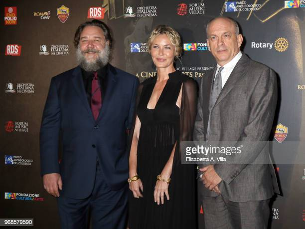 Russell Crowe Connie Nielsen and Tomas Arana attend the 'Il Gladiatore In Concerto' charity night at Colosseum on June 6 2018 in Rome Italy
