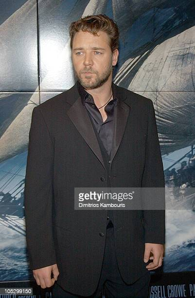 Russell Crowe during 'Master and Commander The Far Side of The World' Screening Inside Arrivals at Beekman Theatre in New York City New York United...