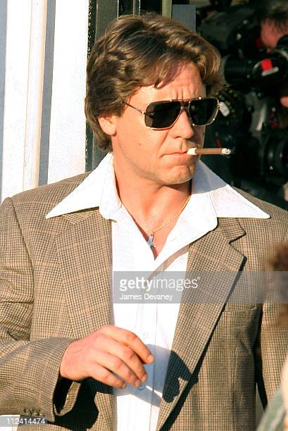 Russell Crowe during Russell Crowe on Set of American Gangster August 9 2006 at Harlem in New York City New York United States