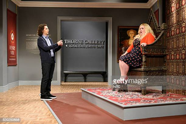 LIVE 'Russell Crowe' Episode 1700 Pictured Kyle Mooney and Aidy Bryant during the 'Interactive Museum Exhibit' sketch on April 9 2016