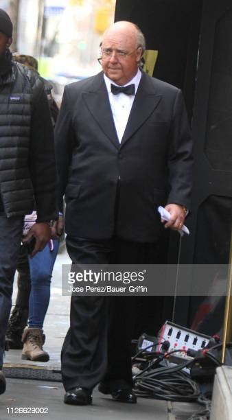 Russell Crowe in costume as Roger Ailes is seen on the set of 'The Loudest Voice in the Room' on February 21 2019 in New York City