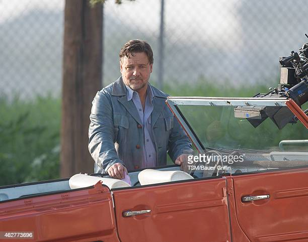 Russell Crowe is seen on the set of 'The Nice Guys' on February 04 2015 in Los Angeles California