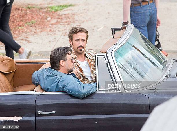 Russell Crowe Jack Kilmer and Ryan Gosling are seen on the set of 'The Nice Guys' on January 22 2015 in Los Angeles California