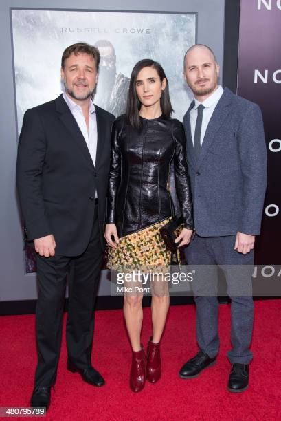 Russell Crowe Jennifer Connelly and Darren Aronofsky attend the Noah premiere at Ziegfeld Theatre on March 26 2014 in New York City