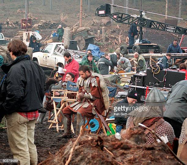 Russell Crowe on the set of movie Gladiator being filmed at Bourne Wood