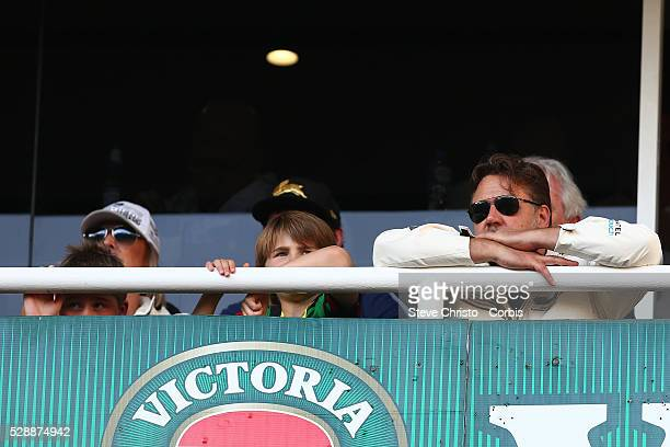 Russell Crowe owner of the Rabbitohs watches the match against the Sharks during the Elimination Final match between South Sydney Rabbitohs and...