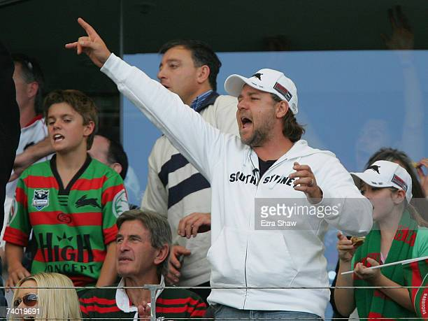 Russell Crowe part owner of the Rabbitohs attends the round seven NRL match between the South Sydney Rabbitohs and the Warriors at Telstra Stadium on...