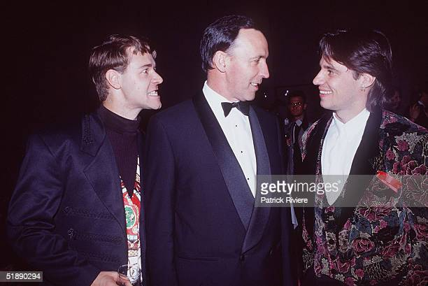 Russell Crowe Paul Keating and Paul Mercurio pictured during the 1992 AFI Awards in Sydney Australia