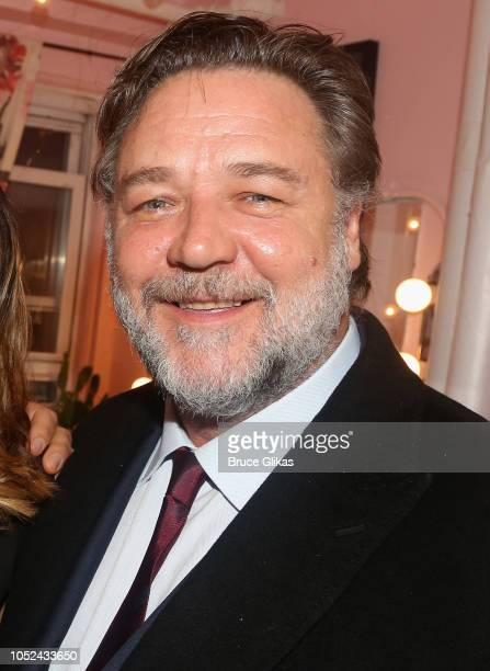 Russell Crowe poses backstage at the hit musical based on the film 'Pretty Woman' on Broadway at The Nederlander Theatre on October 17 2018 in New...