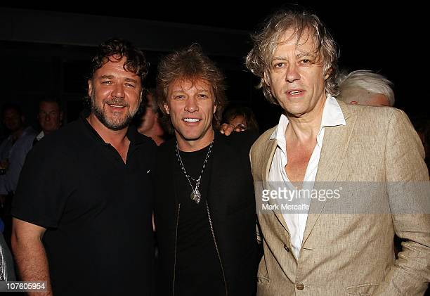Russell Crowe, Sir Bob Geldof and Jon Bon Jovi pose at a celebrity-studded party following a Bon Jovi concert at Star City on December 15, 2010 in...