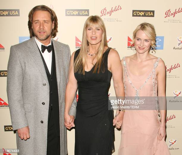 Russell Crowe Terri Irwin and Naomi Watts during 2007 Australia Week Gala Arrivals in Los Angeles California United States