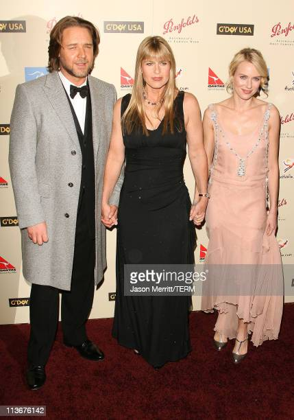 Russell Crowe, Terri Irwin and Naomi Watts during 2007 Australia Week Gala - Arrivals in Los Angeles, California, United States.