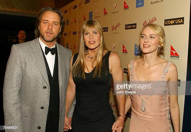 Russell Crowe Terri Irwin and Naomi Watts in Los Angeles California
