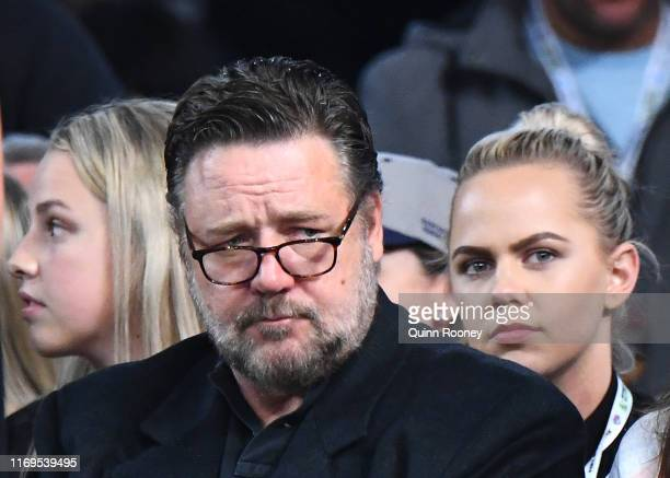 Russell Crowe watches on during the International Basketball Friendly match between the Australian Boomers and Team USA United States of America at...