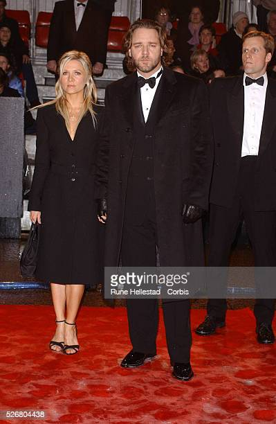 Russell Crowe winner of Best Performance by an Actor in a Leading Role for 'A Beautiful Mind' and his girlfriend arrive at the Orange sponsored BAFTA...