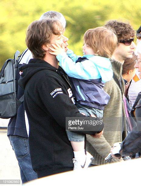 Russell Crowe with his son Charles during Russell Crowe Sighting in Paris October 13 2006 in Paris France