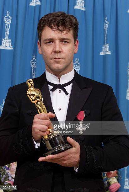 Russell Crowe with Oscar for best actor for 'Gladiator' at the 73rd Annual Academy Awards at the Shrine Auditorium in Los Angeles Sunday March 25...