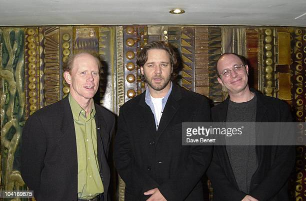 Russell Crowe With Ron Howard And The Writer Akiva Goldsman Screening Of Movie 'A Beautiful Mind' At The Curzon Cinema In Mayfair London
