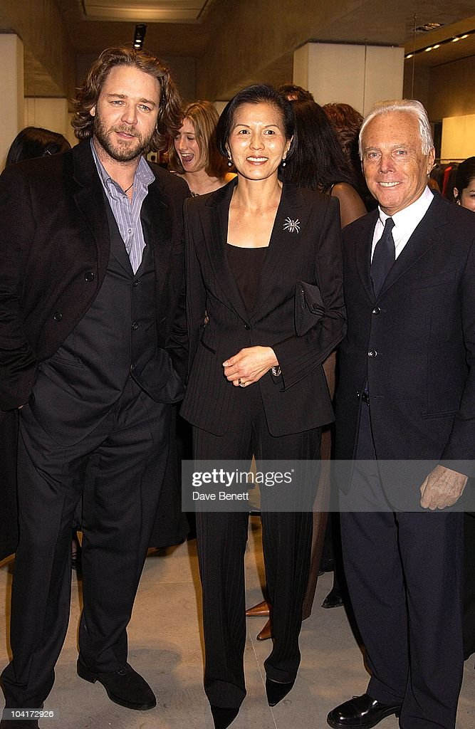Russell Crowe,mrs Ong And Giorgio Armani, Russell Crowe Oscar Nomination Cocktail & Dinner Party, New Giorgio Armani Shop, Bond Street & Supper & Hakkasan, London.