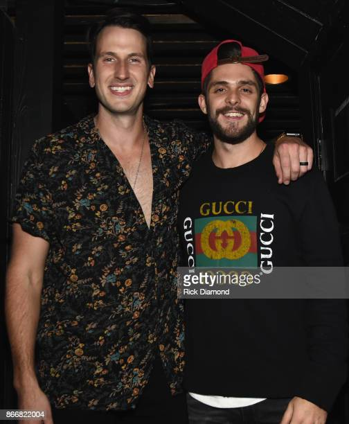 Russell Dickerson and Thomas Rhett backstage following Russell Dickerson Nashville YOURS Album Release Show at Exit/IN on October 11 2017 in...