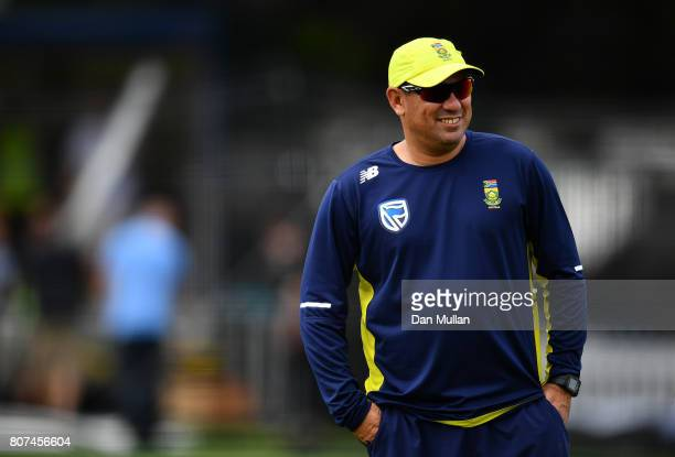 Russell Domingo Head Coach of South Africa looks on during a South Africa Net Session at Lord's Cricket Ground on July 4 2017 in London England