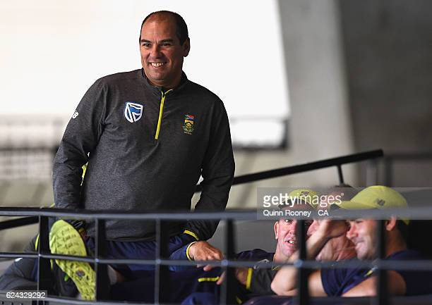 Russell Domingo the South African coach watches on during the One Day International tour match between Victoria and South Africa at Melbourne Cricket...