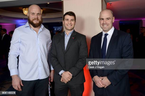 Russell Earnshaw Richard Wigglesworth and Charlie Hodgson attend The Nordoff Robbins Six Nations Championship Rugby dinner held at Grosvenor House on...