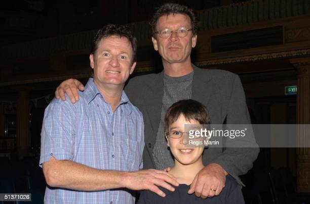 Russell Gilbert Red Symons and Red's son Raphael just after Russell's performance at the Forum Theatre for the premiere of 'Defending The Caveman' in...