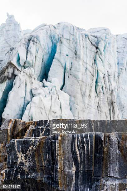 Striations carved into the bedrock by ice erosion as a glacier receded.
