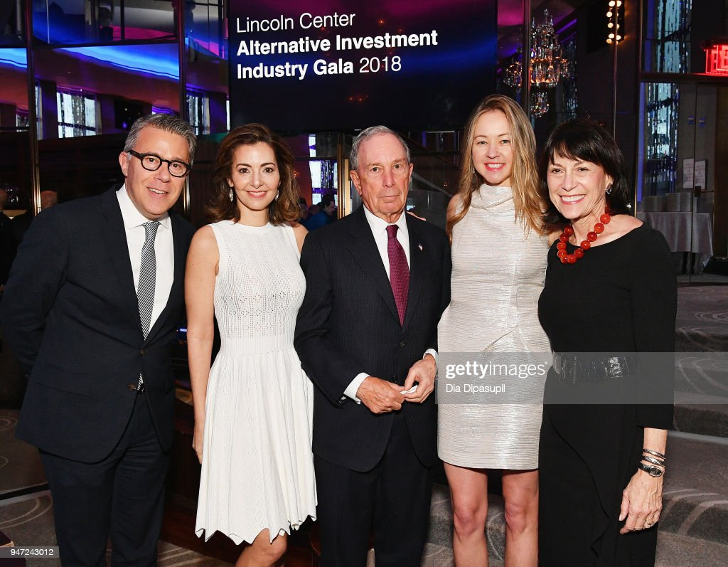 Russell Granet, Ilana D. Weinstein, Michael Bloomberg, Anna Nikolayevsky and Katherine Farley attend the Lincoln Center Alternative Investment Industry Gala on April 16, 2018 at The Rainbow Room in New York City.