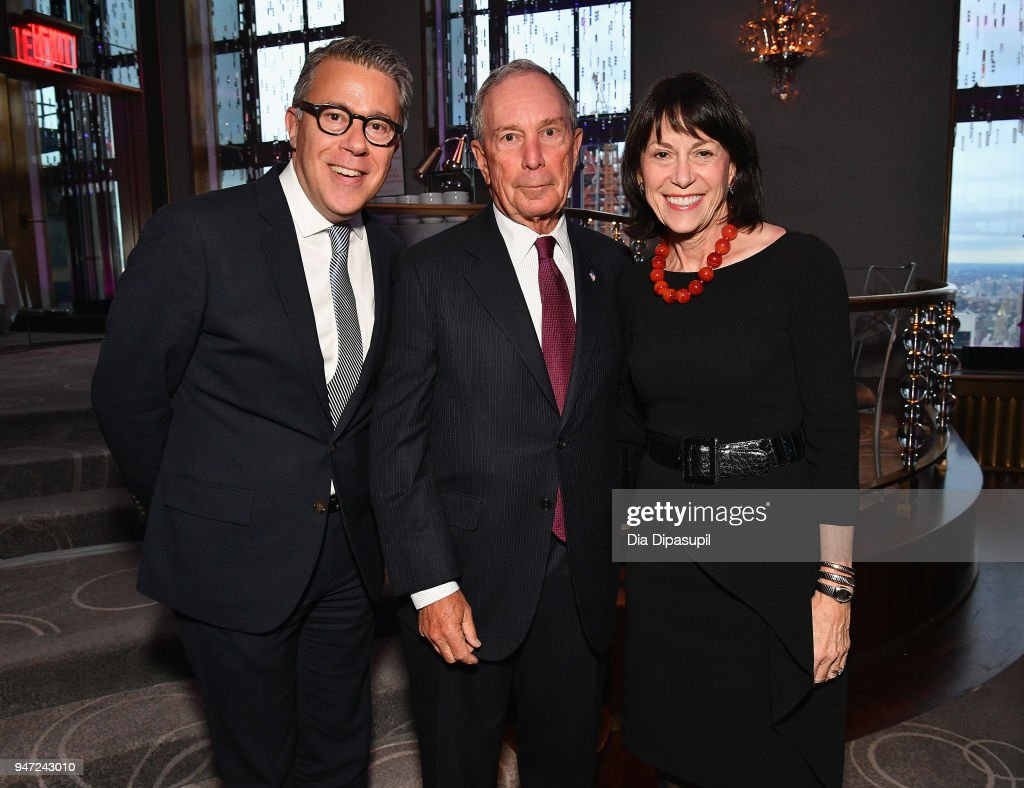 Russell Granet, Michael Bloomberg and Katherine Farley attend the Lincoln Center Alternative Investment Industry Gala on April 16, 2018 at The Rainbow Room in New York City.