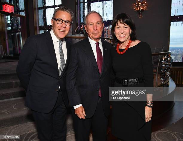 Russell Granet Michael Bloomberg and Katherine Farley attend the Lincoln Center Alternative Investment Industry Gala on April 16 2018 at The Rainbow...