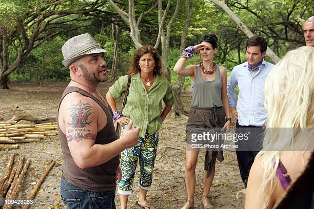 Russell Hantz Julie Wolfe Sarita White David Murphy and Steve Wright of the Zaptera tribe during the first episode of Survivor Redemption Island...