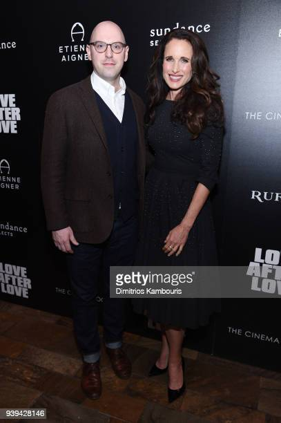 Russell Harbaugh and Andie MacDowell attend the premiere of Love After Love at The Roxy Cinema on March 28 2018 in New York City
